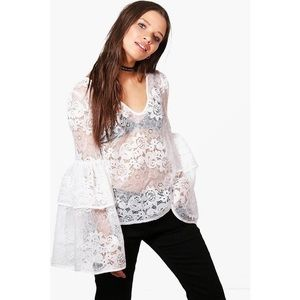 🦉5for$15 Floral Lace Flare Dramatic Sleeve Top